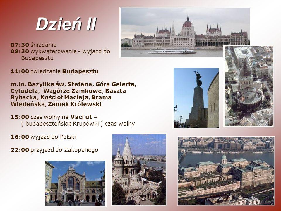 07:30 śniadanie 08:30 wykwaterowanie - wyjazd do Budapesztu 11:00 zwiedzanie Budapesztu m.in. Bazylika św. Stefana, Góra Gelerta, Cytadela, Wzgórze Za