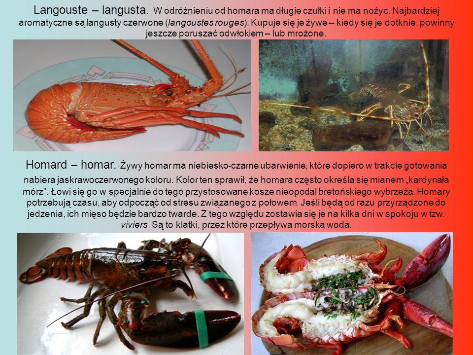 Langouste – langusta. W odróżnieniu od homara ma długie czułki i nie ma nożyc. Najbardziej aromatyczne są langusty czerwone (langoustes rouges). Kupuj