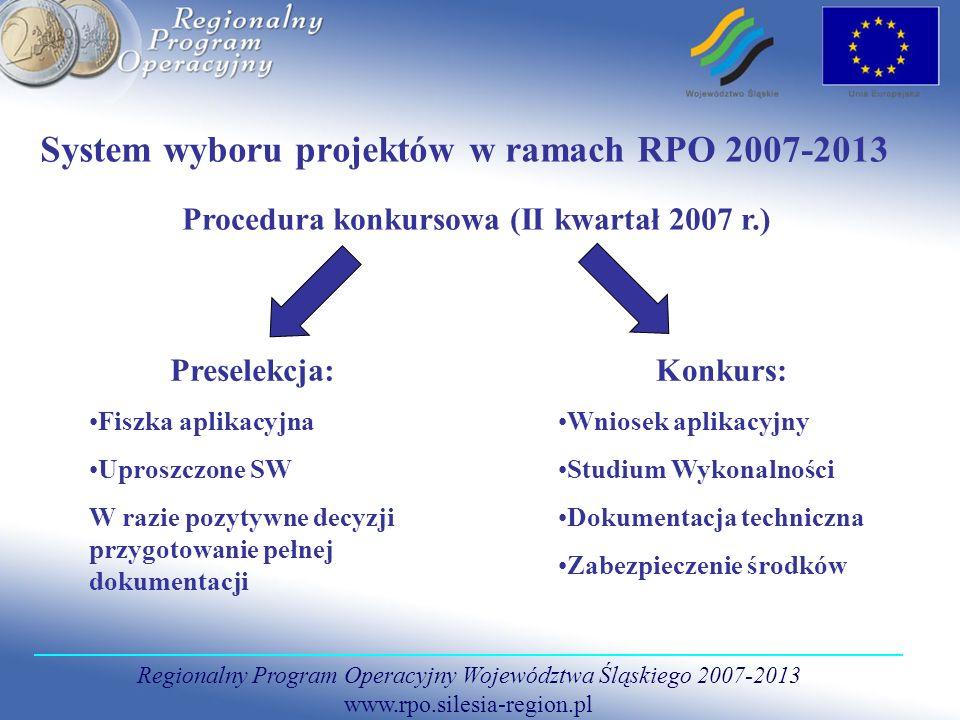 Regionalny Program Operacyjny Województwa Śląskiego 2007-2013 www.rpo.silesia-region.pl System wyboru projektów w ramach RPO 2007-2013 Procedura konku