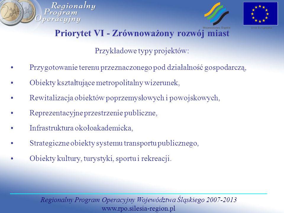Regionalny Program Operacyjny Województwa Śląskiego 2007-2013 www.rpo.silesia-region.pl Priorytet VI - Zrównoważony rozwój miast Przykładowe typy proj
