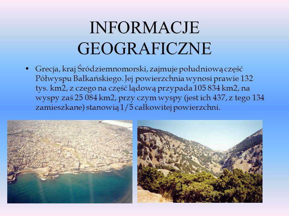 Główne wiadomości Ustrój polityczny: Republika Powierzchnia: 131944 Ludność: 10,25 mln Stolica: Ateny (3 mln osób) Najważniejsze miasta: Ateny, Saloni