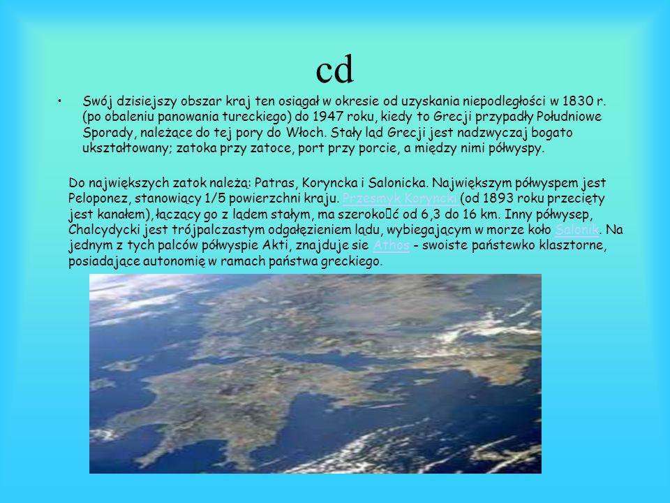 INFORMACJE GEOGRAFICZNE Grecja, kraj Śródziemnomorski, zajmuje południową część Półwyspu Bałkańskiego. Jej powierzchnia wynosi prawie 132 tys. km2, z