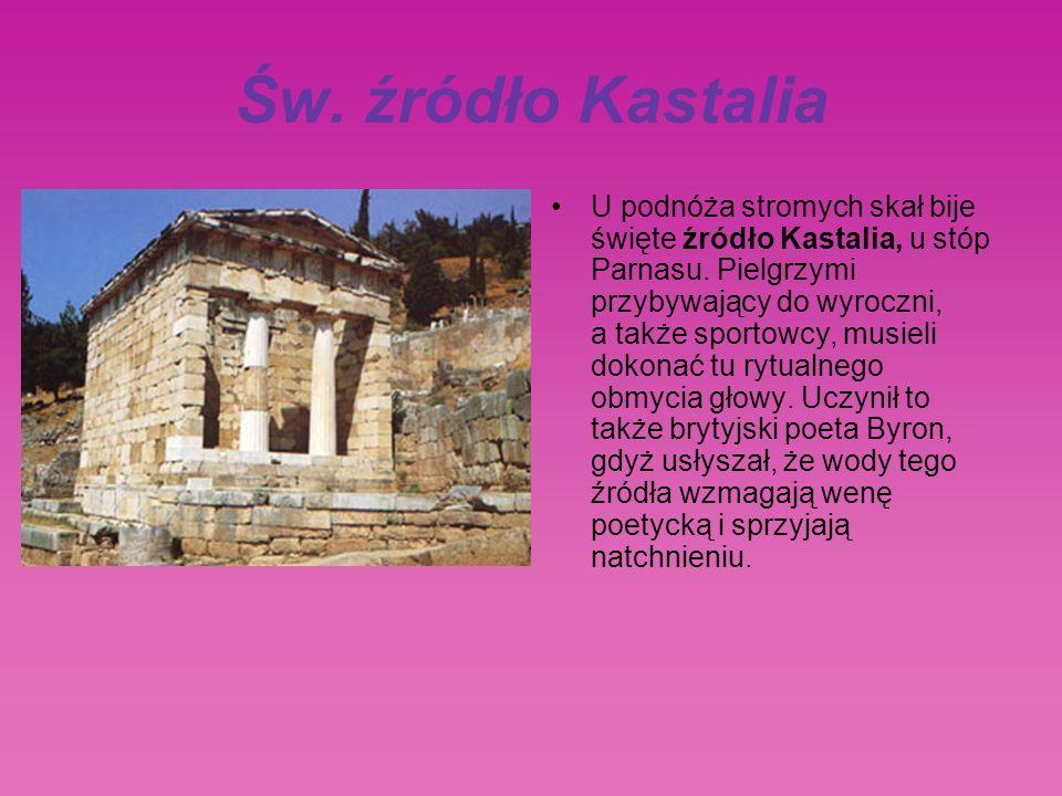 Św.źródło Kastalia U podnóża stromych skał bije święte źródło Kastalia, u stóp Parnasu.