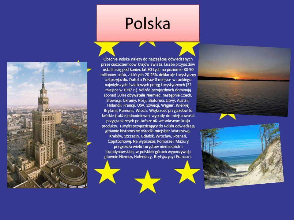 Polska Polska Obecnie Polska należy do najczęściej odwiedzanych przez cudzoziemców krajów świata. Liczba przyjazdów ustaliła się pod koniec lat 90-tyc