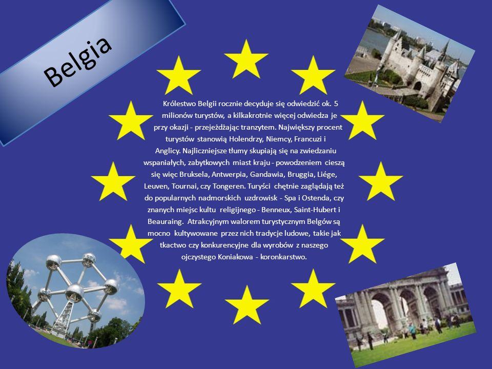 B e l g i a Królestwo Belgii rocznie decyduje się odwiedzić ok. 5 milionów turystów, a kilkakrotnie więcej odwiedza je przy okazji - przejeżdżając tra