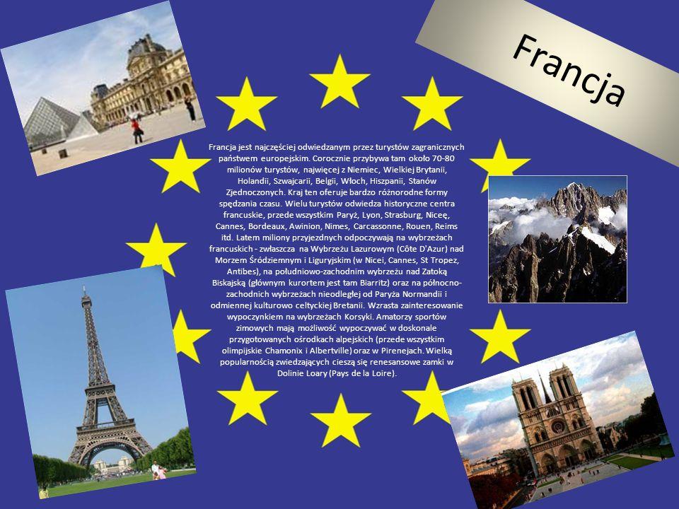 Francja Francja jest najczęściej odwiedzanym przez turystów zagranicznych państwem europejskim. Corocznie przybywa tam około 70-80 milionów turystów,