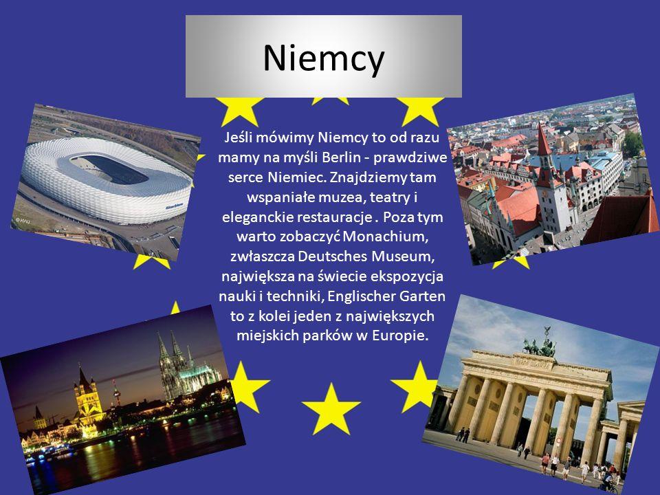 Niemcy Jeśli mówimy Niemcy to od razu mamy na myśli Berlin - prawdziwe serce Niemiec. Znajdziemy tam wspaniałe muzea, teatry i eleganckie restauracje.