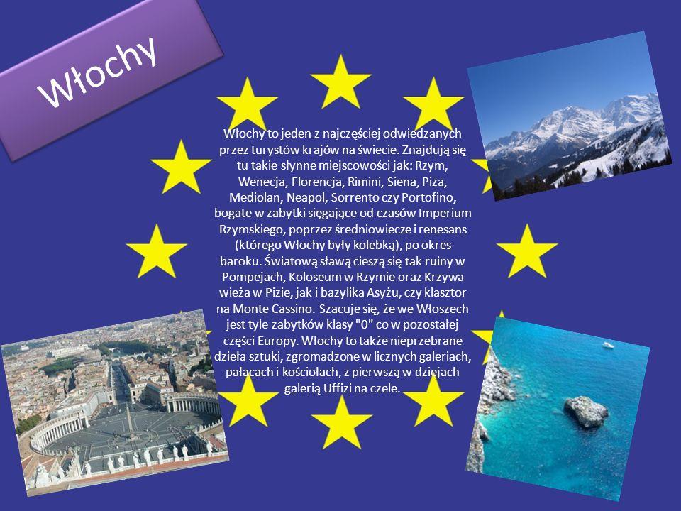 Włochy W ł o c h y Włochy to jeden z najczęściej odwiedzanych przez turystów krajów na świecie. Znajdują się tu takie słynne miejscowości jak: Rzym, W