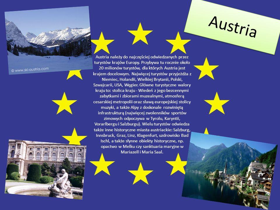 Austria Austria należy do najczęściej odwiedzanych przez turystów krajów Europy. Przybywa tu rocznie około 20 milionów turystów, dla których Austria j
