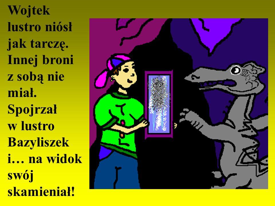 Było w lochu czarne przejście. Czarnym przejściem w ciszę czarną poszedł Wojtek... Widział skarby, które Bazyliszek zgarnął.