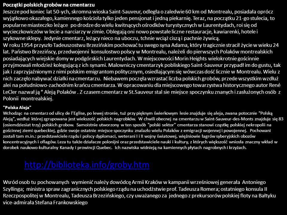 POLSKIE GROBY NA CMENTARZU W SAINT- SAUVEUR-DES-MONTS na podstawie przewodnika opracowanego przez Ewę Iłowską Motto: