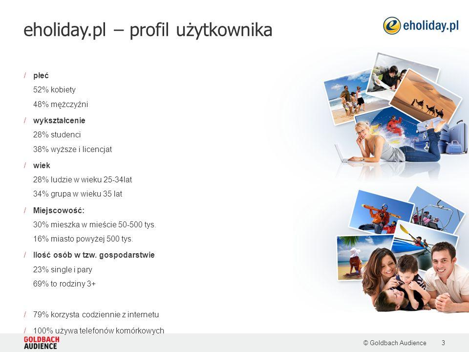eholiday.pl – profil użytkownika © Goldbach Audience3 /płeć 52% kobiety 48% mężczyźni /wykształcenie 28% studenci 38% wyższe i licencjat /wiek 28% lud