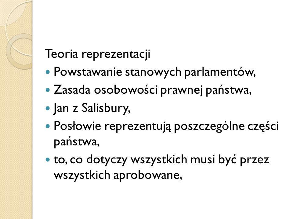 Teoria reprezentacji Powstawanie stanowych parlamentów, Zasada osobowości prawnej państwa, Jan z Salisbury, Posłowie reprezentują poszczególne części