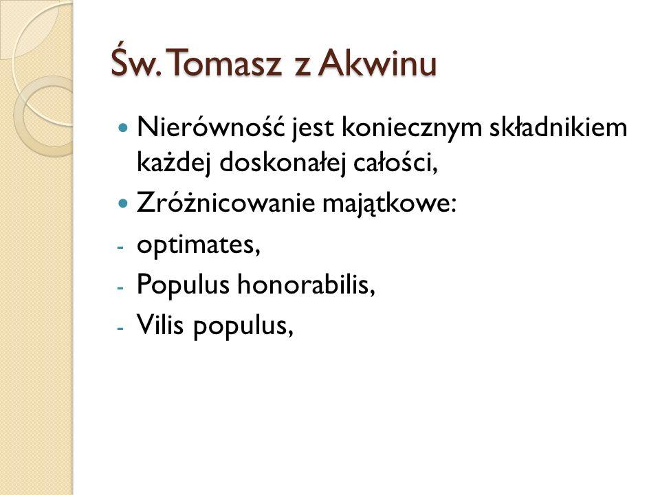 Św. Tomasz z Akwinu Nierówność jest koniecznym składnikiem każdej doskonałej całości, Zróżnicowanie majątkowe: - optimates, - Populus honorabilis, - V