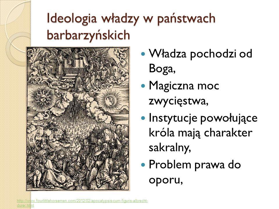 Ideologia władzy w państwach barbarzyńskich Władza pochodzi od Boga, Magiczna moc zwycięstwa, Instytucje powołujące króla mają charakter sakralny, Pro