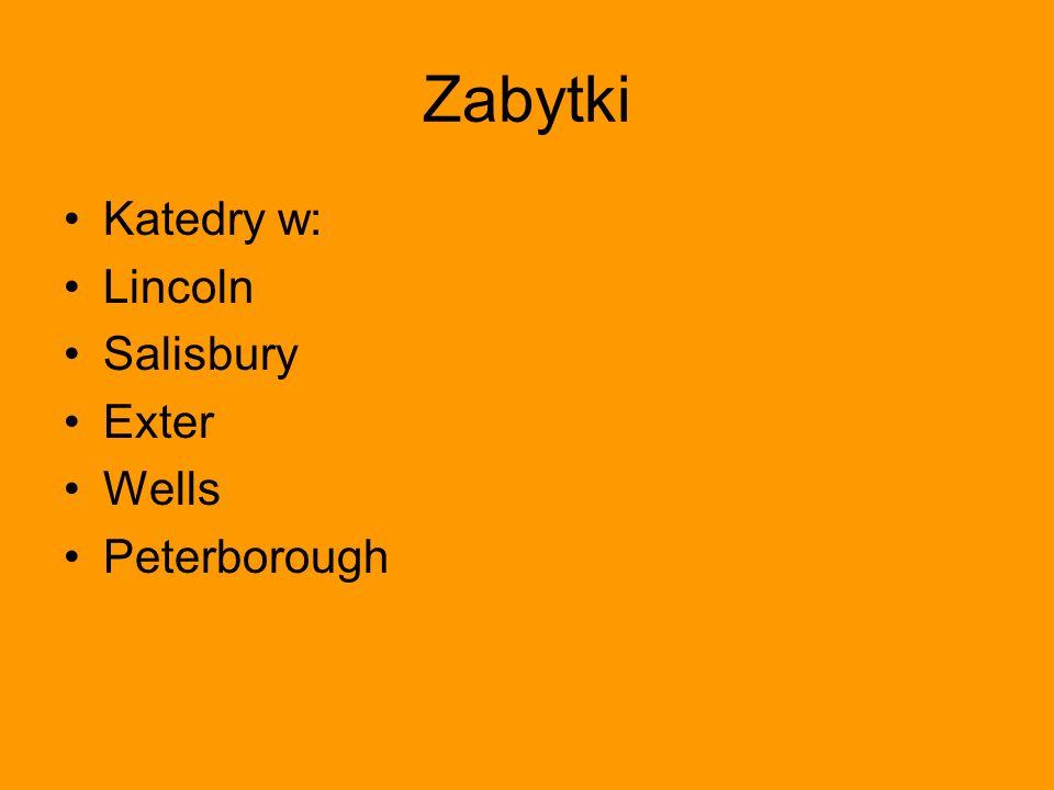 Zabytki Katedry w: Lincoln Salisbury Exter Wells Peterborough