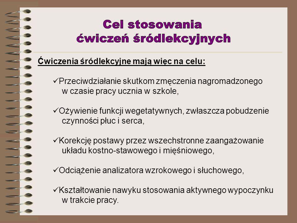 K.Wlaźnik, A. Złotkiewicz – Ćwiczenia śródlekcyjne i międzylekcyjne w klasach początkowych.