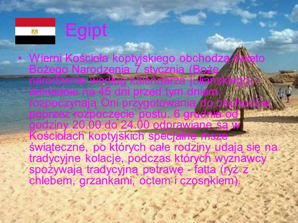 Egipt Wierni Kościoła koptyjskiego obchodzą święto Bożego Narodzenia 7 stycznia (Boże narodzenie według kalendarza juliańskiego) i dokładnie na 45 dni