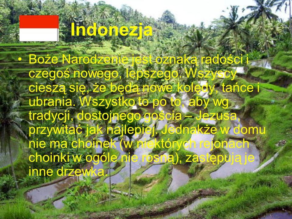 Indonezja Boże Narodzenie jest oznaką radości i czegoś nowego, lepszego. Wszyscy cieszą się, że będą nowe kolędy, tańce i ubrania. Wszystko to po to,