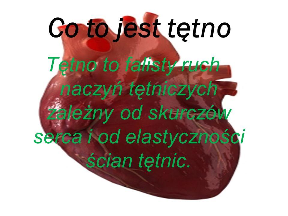 Badanie tętna Dokonuje się go na tętnicach powierzchniowych, najczęściej tętnicy promieniowej, choć także na innych tętnicach dostępnych badaniu palpacyjnemu – tętnicy szyjnej zewnętrznej, ramiennej, udowej, podkolanowej, skroniowej i grzbietowej stopy.