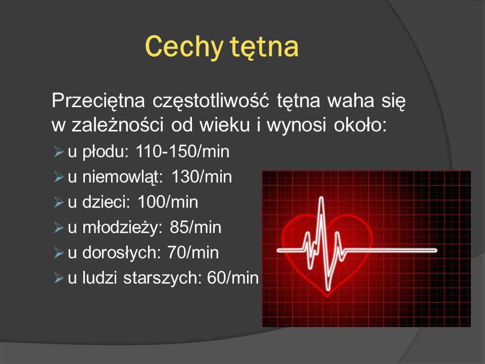 Cechy tętna Miarowość – tętno jest miarowe jeśli wszystkie uderzenia wykazują jednakową siłę, a odstępy między nimi są jednakowe, w przeciwnym razie mówimy o tętnie niemiarowym ; Wypełnienie – określa wysokość fali tętna i zależy od wypełnienia tętnicy krwią, co z kolei zależy od rzutu serca.