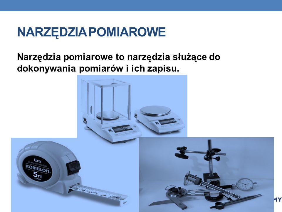NARZĘDZIA POMIAROWE Narzędzia pomiarowe to narzędzia służące do dokonywania pomiarów i ich zapisu.