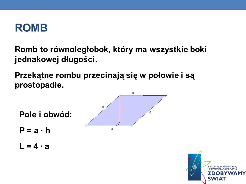 ROMB Romb to równoległobok, który ma wszystkie boki jednakowej długości.