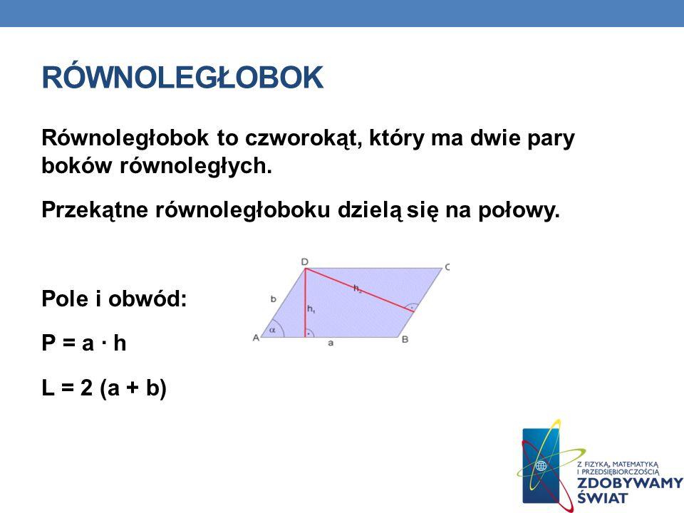 RÓWNOLEGŁOBOK Równoległobok to czworokąt, który ma dwie pary boków równoległych.