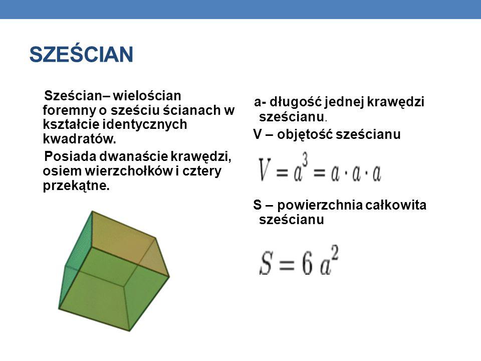 SZEŚCIAN Sześcian– wielościan foremny o sześciu ścianach w kształcie identycznych kwadratów.