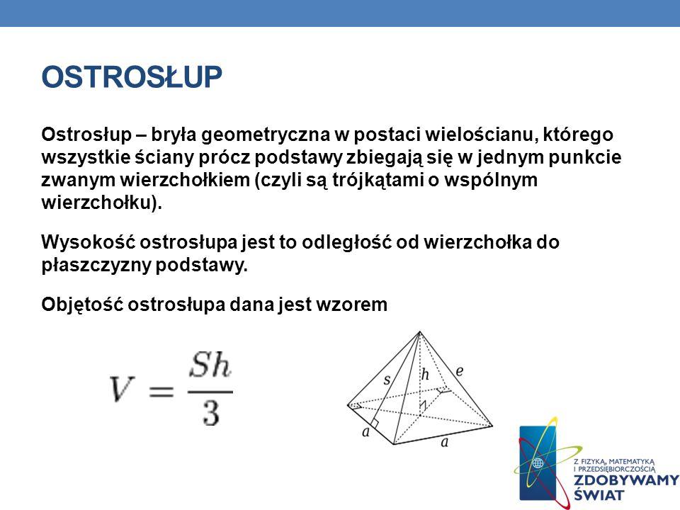 OSTROSŁUP Ostrosłup – bryła geometryczna w postaci wielościanu, którego wszystkie ściany prócz podstawy zbiegają się w jednym punkcie zwanym wierzchołkiem (czyli są trójkątami o wspólnym wierzchołku).