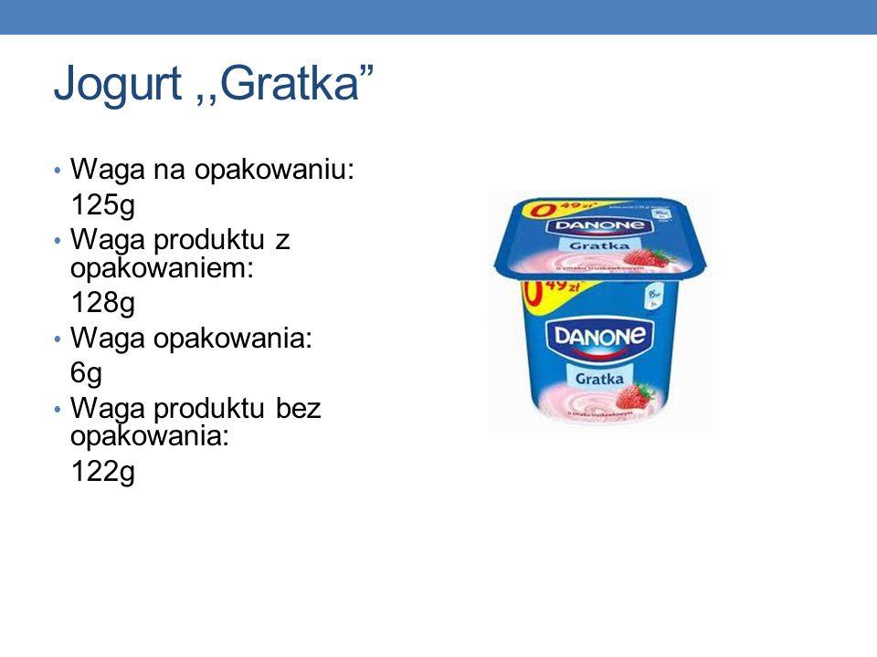 Jogurt,,Gratka Waga na opakowaniu: 125g Waga produktu z opakowaniem: 128g Waga opakowania: 6g Waga produktu bez opakowania: 122g