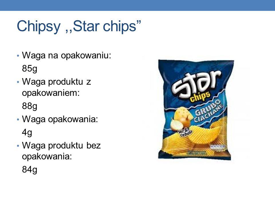 Chipsy,,Star chips Waga na opakowaniu: 85g Waga produktu z opakowaniem: 88g Waga opakowania: 4g Waga produktu bez opakowania: 84g