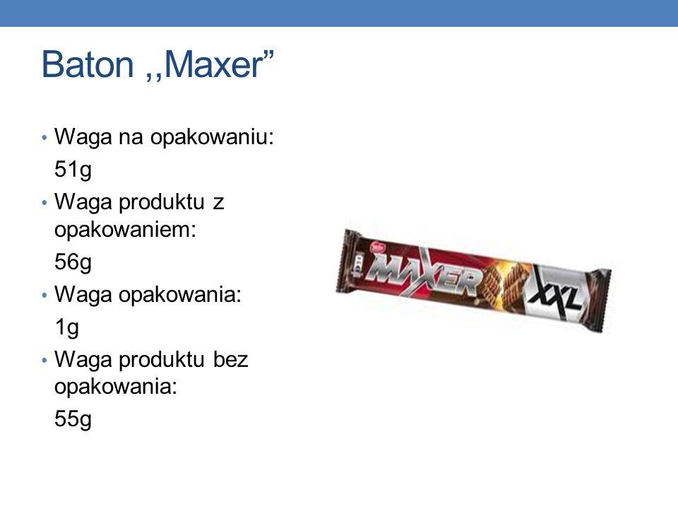 Baton,,Maxer Waga na opakowaniu: 51g Waga produktu z opakowaniem: 56g Waga opakowania: 1g Waga produktu bez opakowania: 55g