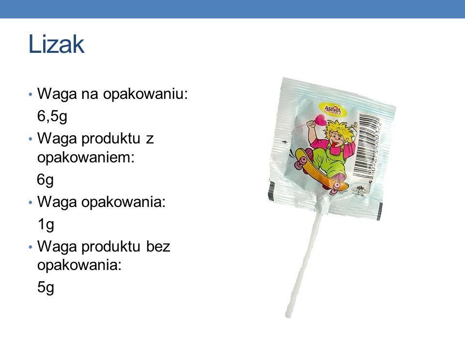Lizak Waga na opakowaniu: 6,5g Waga produktu z opakowaniem: 6g Waga opakowania: 1g Waga produktu bez opakowania: 5g