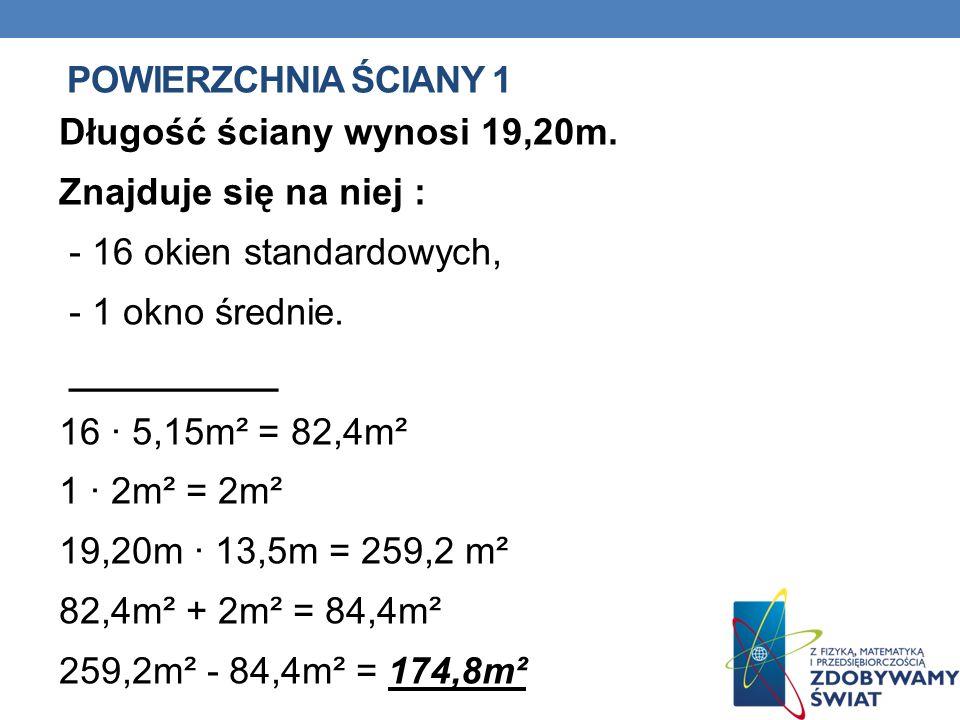 POWIERZCHNIA ŚCIANY 1 Długość ściany wynosi 19,20m.