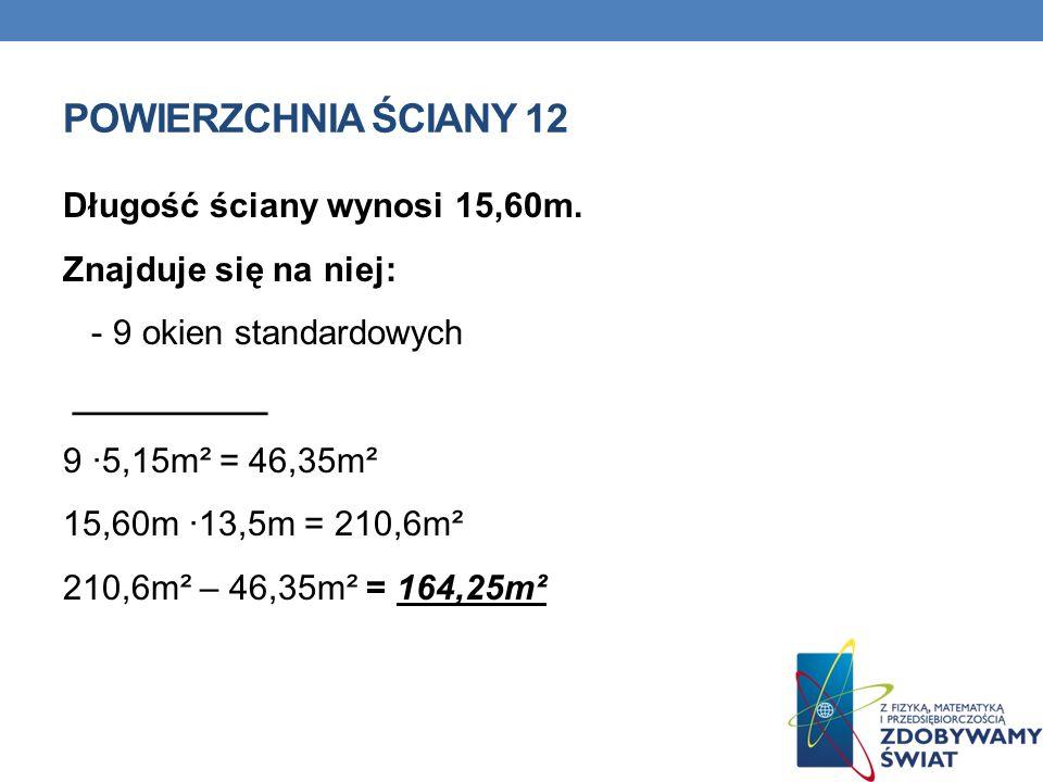 POWIERZCHNIA ŚCIANY 12 Długość ściany wynosi 15,60m.