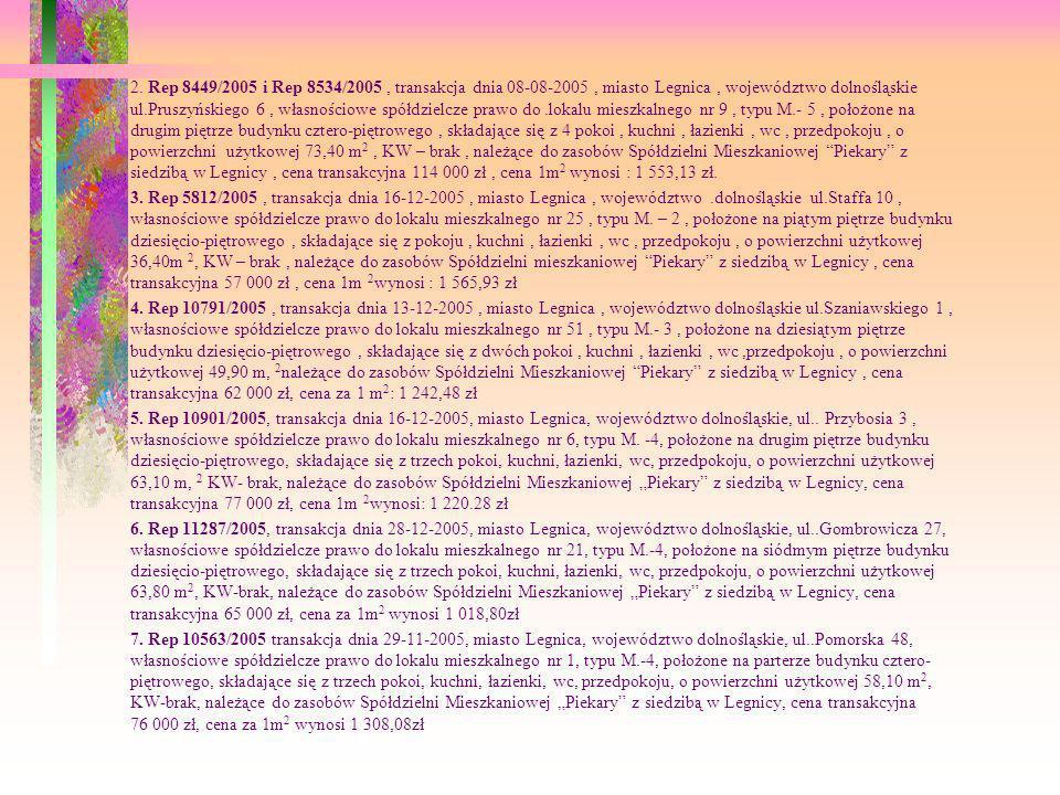 2. Rep 8449/2005 i Rep 8534/2005, transakcja dnia 08-08-2005, miasto Legnica, województwo dolnośląskie ul.Pruszyńskiego 6, własnościowe spółdzielcze p