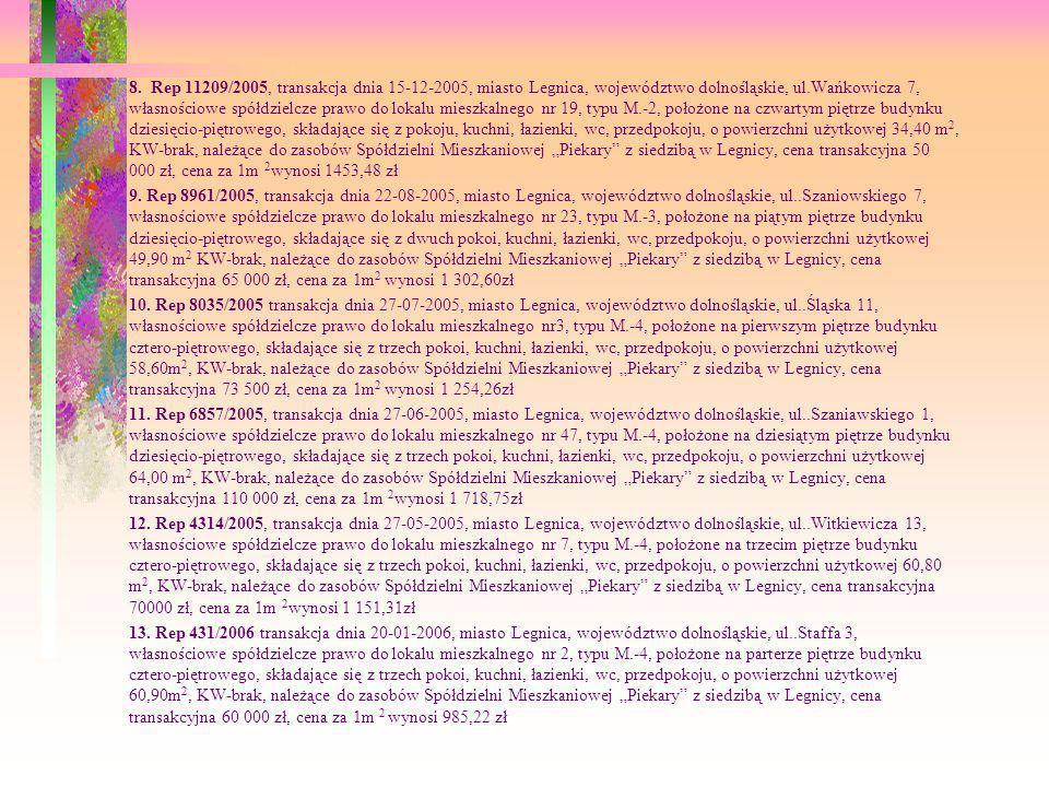 8. Rep 11209/2005, transakcja dnia 15-12-2005, miasto Legnica, województwo dolnośląskie, ul.Wańkowicza 7, własnościowe spółdzielcze prawo do lokalu mi
