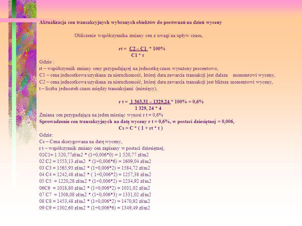 Aktualizacja cen transakcyjnych wybranych obiektów do porównań na dzień wyceny Obliczenie współczynnika zmiany cen z uwagi na upływ czasu, rt = C2 – C
