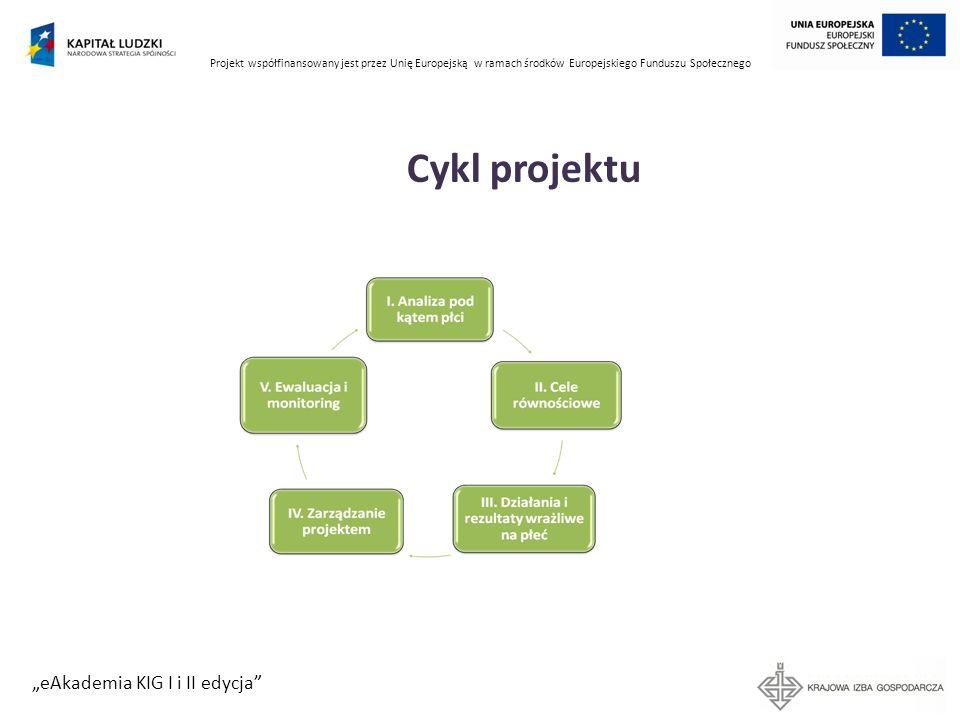 Projekt współfinansowany jest przez Unię Europejską w ramach środków Europejskiego Funduszu Społecznego eAkademia KIG I i II edycja Cykl projektu