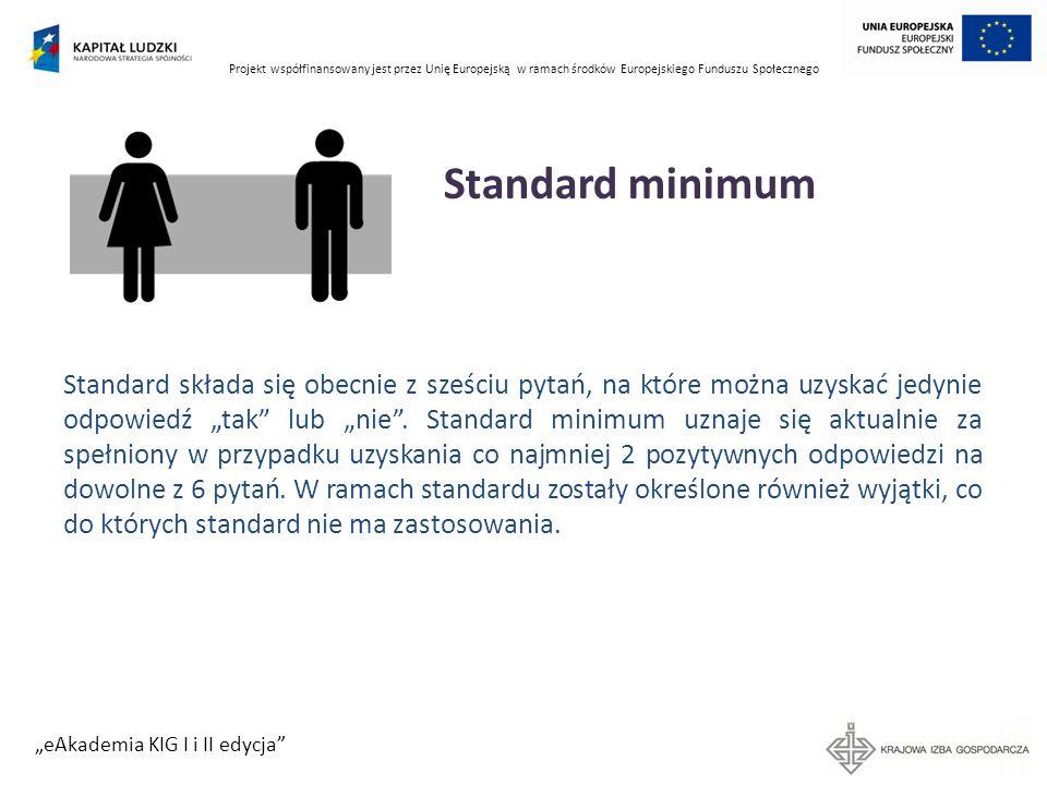 Projekt współfinansowany jest przez Unię Europejską w ramach środków Europejskiego Funduszu Społecznego eAkademia KIG I i II edycja Standard minimum S