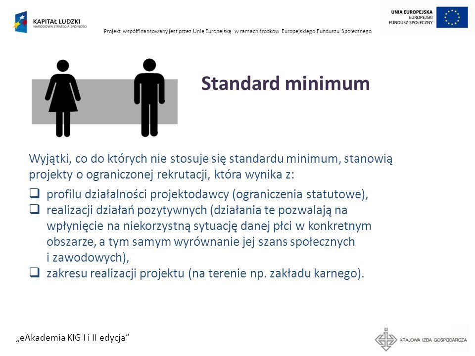 Projekt współfinansowany jest przez Unię Europejską w ramach środków Europejskiego Funduszu Społecznego eAkademia KIG I i II edycja Standard minimum W