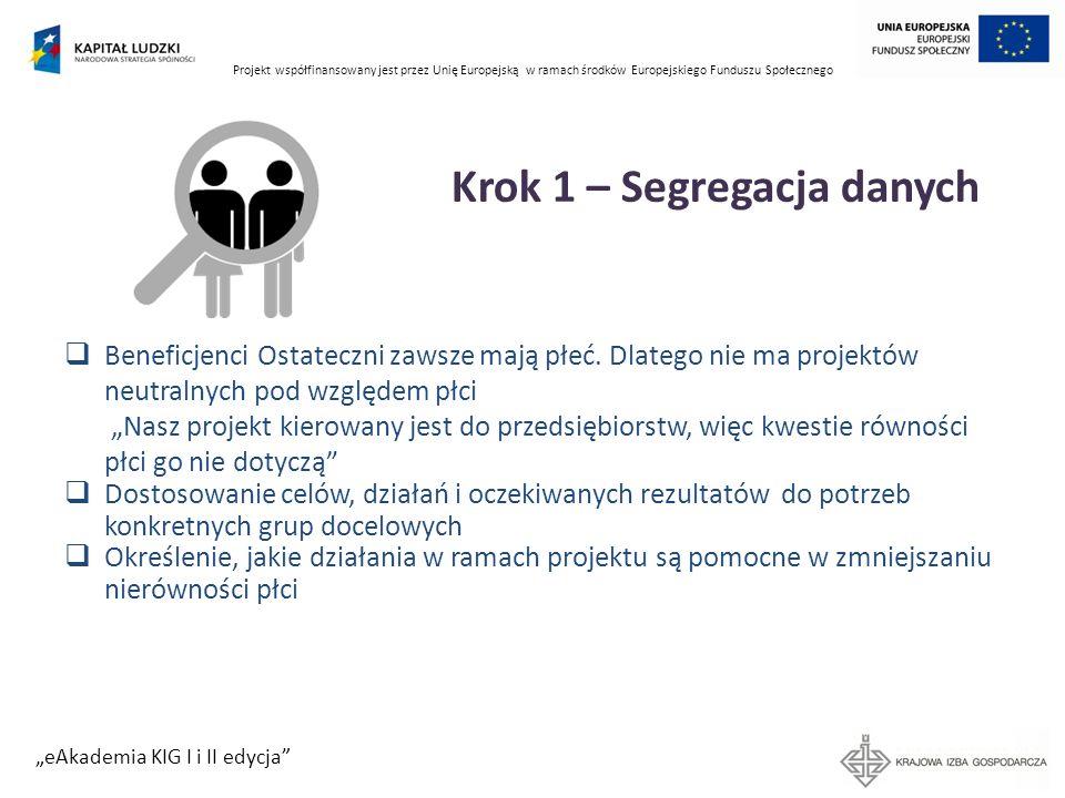 Projekt współfinansowany jest przez Unię Europejską w ramach środków Europejskiego Funduszu Społecznego eAkademia KIG I i II edycja Krok 1 – Segregacj