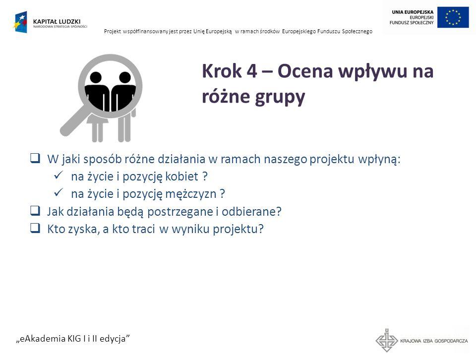 Projekt współfinansowany jest przez Unię Europejską w ramach środków Europejskiego Funduszu Społecznego eAkademia KIG I i II edycja Krok 4 – Ocena wpł