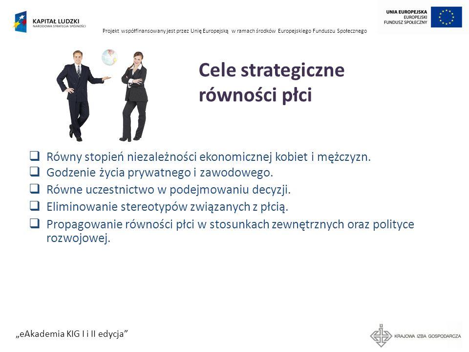 Projekt współfinansowany jest przez Unię Europejską w ramach środków Europejskiego Funduszu Społecznego eAkademia KIG I i II edycja Cele strategiczne