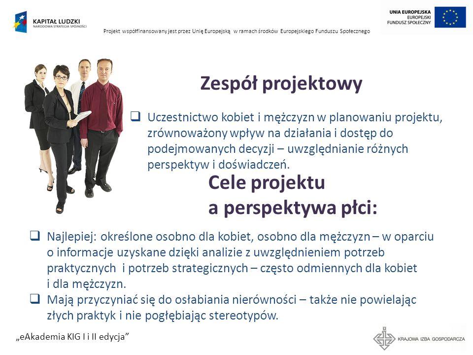 Projekt współfinansowany jest przez Unię Europejską w ramach środków Europejskiego Funduszu Społecznego eAkademia KIG I i II edycja Zespół projektowy
