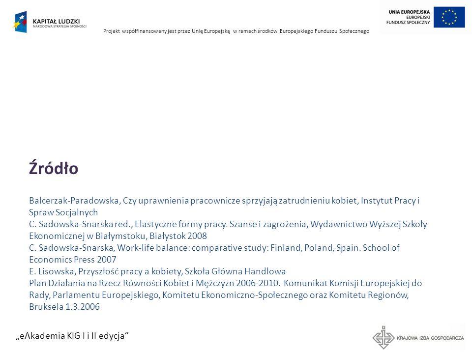 Projekt współfinansowany jest przez Unię Europejską w ramach środków Europejskiego Funduszu Społecznego eAkademia KIG I i II edycja Źródło Balcerzak-P