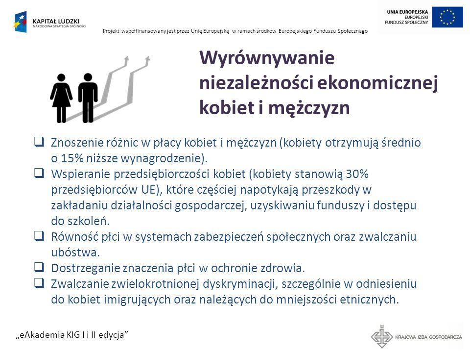 Projekt współfinansowany jest przez Unię Europejską w ramach środków Europejskiego Funduszu Społecznego eAkademia KIG I i II edycja 2 filary równości Konkretne działania Specific actions/ measures Działania mające na celu przyśpieszenie zmian na rzecz równości poprzez wyrównanie sytuacji kobiet i mężczyzn Działania skierowane do kobiet lub na relacje między kobietami i mężczyznami Celem jest rzeczywista równość, szybka zmiana społeczna Polityka równości płci Gender mainstreaming Perspektywa płci obecna na każdym etapie tworzenia polityki: planowanie, wdrażanie, monitoring i ewaluacja Wpływ działań oceniany jest z perspektywy wpływu na życie i położenie kobiet i mężczyzn.