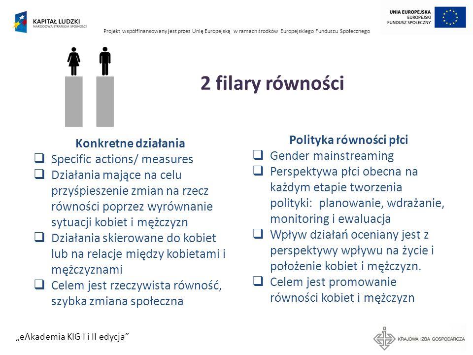 Projekt współfinansowany jest przez Unię Europejską w ramach środków Europejskiego Funduszu Społecznego eAkademia KIG I i II edycja Zasada równości szans płci w planowaniu i ocenie projektów PO KL