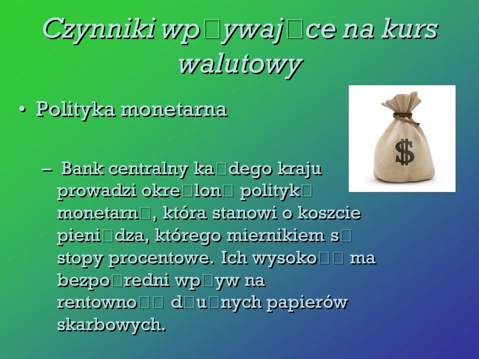 Polityka monetarna – Bank centralny ka ż dego kraju prowadzi okre ś lon ą polityk ę monetarn ą, która stanowi o koszcie pieni ą dza, którego miernikie